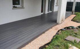 Habillage d'une terrasse existante en composite gris imitation bois