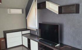 Création, fabrication et pose d'un agencement meuble tv, rangement et déco
